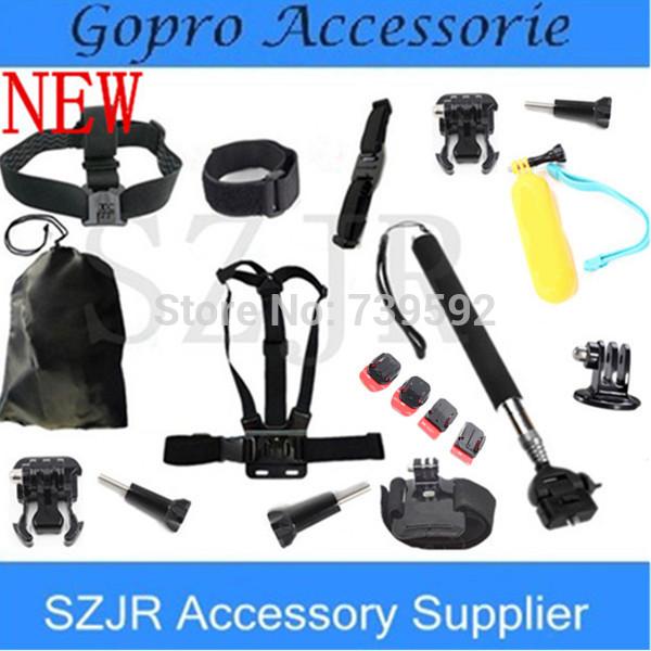 Gopro Accessories Black Chest Belt+WiFi Remote Wrist Belt+Head Strap+Helmet Strap+Bag+Handheld Monopod Mount for Gopro HD Hero 3(China (Mainland))