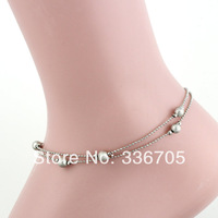 2014New Arrival Free Shipping 10pcs/lot Fashion Lady's 7mm Bell Pattern Metallic Anklets33013#