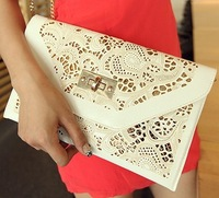 Chain White Hollow Envelope Clutch Red Women Leather Handbags New 2014 Women Messenger Bags Free Shipping Purse Wallet Wholesale