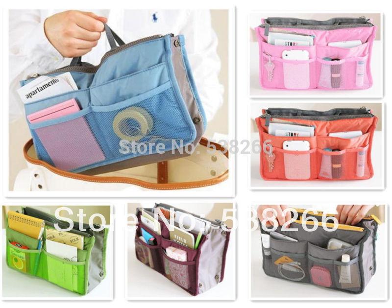 Handbag Purse Dual Organizer Insert mp3 phone cosmetic Storage Nylon Bag in Bag(China (Mainland))