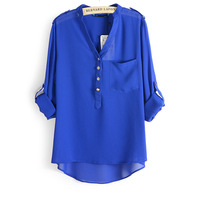2014 new spring summer eenschin v-neck chiffon elegant all-match solid boots casual shirt blouse xfs spiral NN8056