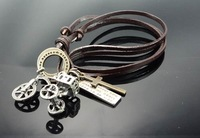 C23 Free Shipping l00% Leather charm necklace,anti cooper charms,leather necklace,key chain,bag chain,fashion necklace