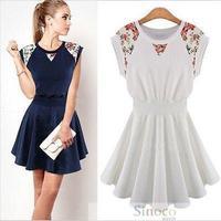 Fashion New 2014 Spring Summer Women's Dresses Vestidos Round Neck Sleeveless Slim  Casual Dress Blue and White