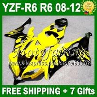 7gifts  For YAMAHA 08-12 YZF-R6 YZFR6 YZF R6 YZF600 JM97449 08 09 10 11 12 Black flames gold! 2008 2009 2010 2011 2012 Fairing