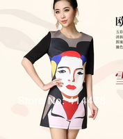 Free Shipping!2014 New Summer Fashion Women Printed Face Dress Ladies Chiffon Short Sleeve Dresses Clothing