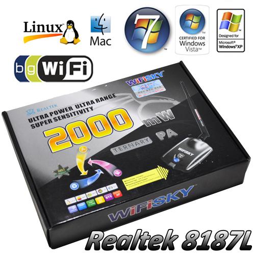 WiFiSKY 2000mW 2W USB Wireless Wifi 802.11 B/G Adaptor 6dBi Antenna Realtek RTL 8187L New Bulk 5 pcs(China (Mainland))