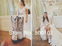 Vintage Off the Shoulder Long Sleeve Mermaid Design Lace Wedding Dresses
