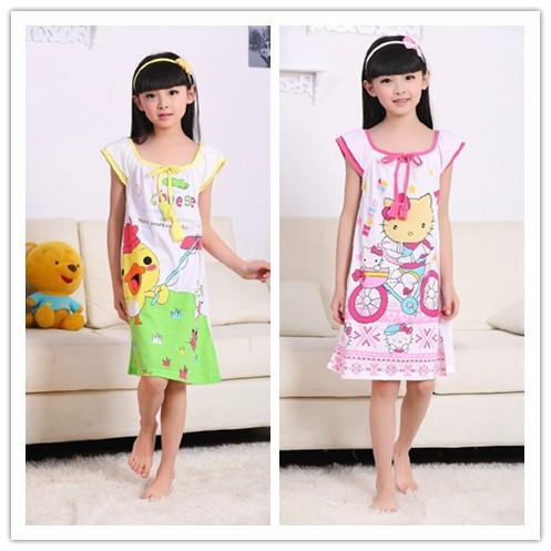 Child sleepwear female child nightgown big boy 100% cotton lounge little girl baby sleepwear short-sleeve princess nightgown(China (Mainland))