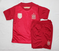 2014 World Cup Spain home TORRES SILVA PUYOL RAMOS PIQUE FABREGAS ALONSO kids soccer jerseys +customize children uniform