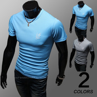 2014 Men spring Summer Fast delivery Men o-neck short-sleeve slim cotton tee men's t -shirt  top  4 color M-XXL free shipping
