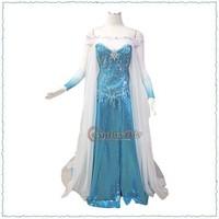 (Free Elsa Wig)Custom Made Frozen Princess Elsa Dress Movie Cosplay Costume For Kids