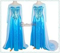 (Free Elsa Wig)Custom Made Princess Elsa Dress From Frozen Movie Cosplay Costume For Kids