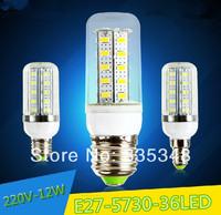 LED light lamps e27 led light 5730 e27 220V 5Pcs/Lot Energy Efficient Corn Bulbs E27 5730 36LEDs Lamp 5730 SMD Max 12W