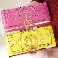 brand 2014 elegant fashion geometry cutout gold bordered design women's long wallet Fashion clutch wallet free shipping
