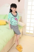 Summer 100% cotton cartoon child girl sleepwear short-sleeve princess nightgown men's clothing lounge