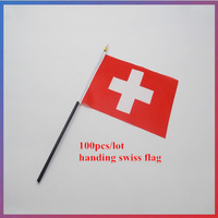100pcs/lot 14*21CM swiss flag  office activity parade Festival Home decoration handing wave flag support wholesales