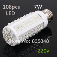 Ultra bright LED bulb 7W E27 220V Cold White or Warm White light LED lamp with 108 led 360 degree Spot light Free shipping