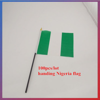 100pcs/lot 14*21CM Nigeria Flag handing wave flag Family/Office Home Decoration/Activity/parade/Festival/brazil world cup flag