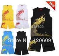 2014 CBA Dragon Design Basketball Suit Custom Number Jersey+Shorts 4 Colors Training Uniform 1 Set Free Shipping