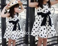 wholesale Free shipping 5pcs Girls princess dress 3~11age cotton woven navy/white cute knee length princess casual girl dress