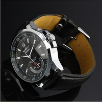 2014 Brand New Men's Automatic Mechanical Watch Date With Black Leather Strap & Dial Skeleton Chronograph Watch