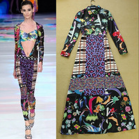 Designer Fashion New In 2014 Women Runway Style Allover Colorful Print Long Dress Shirt Maxi Dresses Free Shipping CH313