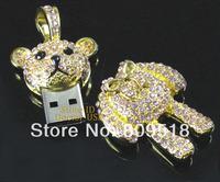 Metal Diamond Bear Pendant USB Key Drive 1GB 2GB 4GB 8GB 16GB 32GB Memory Flash Thumb Stick Key Pendrive 2.0