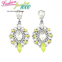New Cute Brand Vintage Yellow Flower Crystal Chunky Statement Dangle Earrings Evening Dress Jewelry  For Women Free Shipping