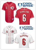 free shipp. stitched Cincinnati Reds #6 Billy Hamilton red /white cool Baseball Jerseys / yount baseball shirt