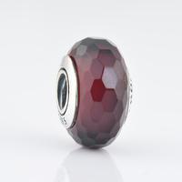 Authentic 925 Silver Core White Six Facted Murano Glass Beads, The Original Jewellers Hallmark JPF001-28