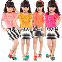 The new 2014 han edition stripe with short sleeves in summer Children dress