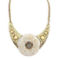 2014 New Design Spring Women Fashion Vintage Retro Ethnic Resin Beige Bib Necklace Luxury Jewelry Wholesale Free Shipping#105817