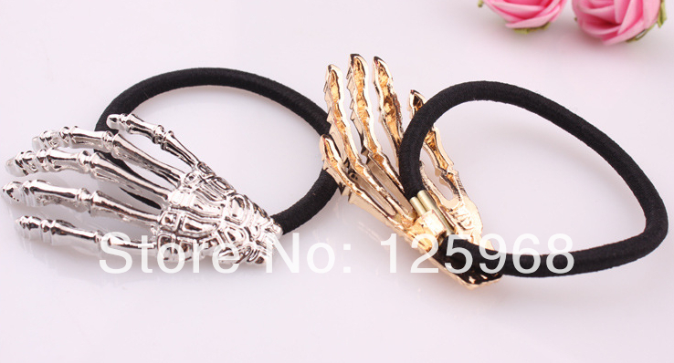 Free Shipping 2014 New Retail Hot Punk Style Alloy Skeleton Hand Ladies Elastic Hair Bands horsetail buckle Hair accessories(China (Mainland))
