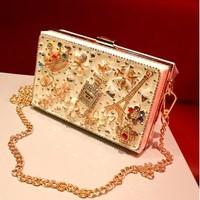 2014 New Luxury Women's Clutch. Creative DIY Acrylic Diamond Gems Hard Case Evening Bag. Lady Chain Shoulder Messenger Handbag