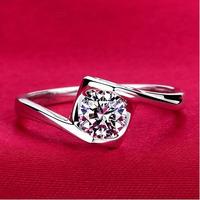 Unique swiss AAA+ CZ Diamond promise rings 18K white gold plated bezel setting Zircon square topza finger rings for women