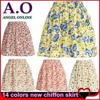 New 2014 spring summer Vintage fashion Korean Women Chiffon skirt Pleated Printed Short Skirts Free Shipping