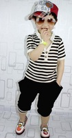 2014 Han Edition Naval Unlined Upper Garment Of Cotton Stripe Short Sleeve T-shirt + Harlan Private Suit Free Shipping