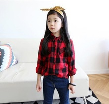Free shipping Girls shirt 2014 new spring wild long-sleeved plaid casual shirts for children(China (Mainland))