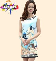 Hot summer women sleeveless Aviary printing dress desigual spain brand lady robe desigual vestido  size S M L XL