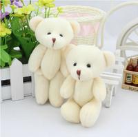 Free shipping 12pcs/lot 12cm Teddy Bear Plush Pendant Soft Toys For Bouquets Joint Bear mini Teddy Bear Toys For Keychain