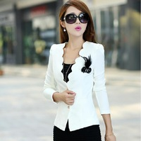 2014 New blazer women corsage plus size blazer jacket for woman work wear coat top white,pink,dark pink,black L,XL,XXL,3XL,4XL