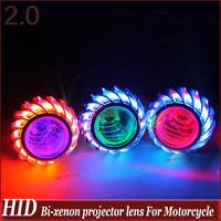 "Universal Motorcycle 35w 2""  mini high/low Hid Bi xenon Projector Lens Headlight Kit  CCFL Angel Eye and  Devil Eye Freeshipping"