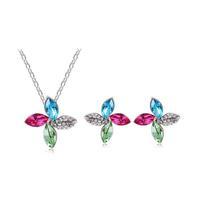 Luxury fashion women Four Leaf Clover necklace & pendant colorful crystal jewelry sets joias de perola bijoux collier feminine