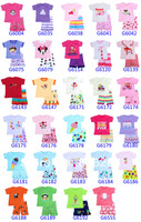 Free shipping kiDs Clothing baby Toddler Sleepwear Tops+Pants GirlS pajama 6sets /lot WHOLESALE