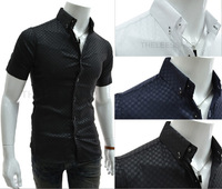 HOT SELL Men's Casual Slim fit Stylish Dress Short Sleeve Shirts high quality men's designer shirts 16 colors Asia S-XXXL