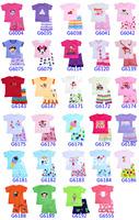 Free shipping kis Clothing baby Toddler Sleepwear Tops+Pants GirlS pajama 6 sets /lot Unisex WHOLESALE