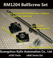 On Sale!1 Anti Ballscrew RM1204 450mm Ball screw + SFU1204 Ballnut + BK10 BF10 End Support + 6.35*8 Coupler For CNC Part