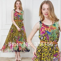 2014 New Fashion Women Maxi Long leopard print Bohemia Beach Summer Chiffon Dress women Freeshipping M,L