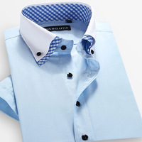 Clearence Sale !!! Man spring 2014 summer double collar  short-sleeve shirt slim fit double collar shirt free shipping