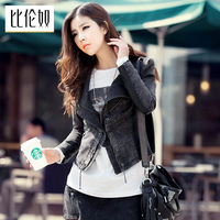 Trumpet 2014 spring women's street slim PU patchwork denim 5607 female coat